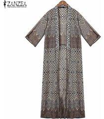 zanzea bohemias de las mujeres del verano del estilo tapas flojas kimono impreso tapas de la blusa la mitad de manga larga cardigan diamante blusas femininas (azul) -azul