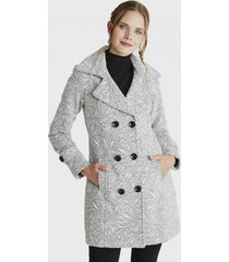 abrigo manga larga cuello solapa gris lorenzo di pontti
