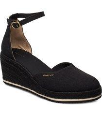 wedgeville plateau sandale sandalette med klack espadrilles svart gant
