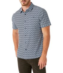 men's 7 diamonds geo print short sleeve button-up performance shirt, size small - blue