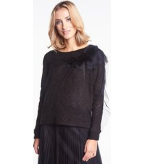 elegancki sweter z futerkiem