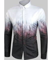 forest print gradient button up shirt