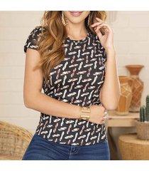 blusa tefy negro-café para mujer croydon
