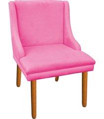 cadeira sala de jantar liz suede rosa barbie - d'rossi