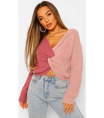 petite colour block twist back sweater, purple