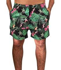 shorts praia tactel c/ elastano estampado c/ bolsos laterais  j10 verde