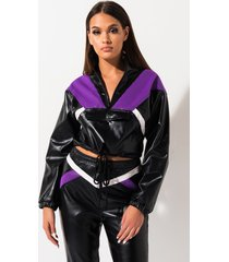 akira sporty chic zip up pleather sweatshirt