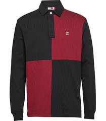 lh colour block rugby shirt polos long-sleeved röd tommy hilfiger