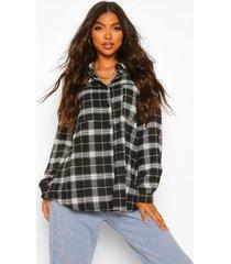 tall extreem oversized geruite blouse, zwart