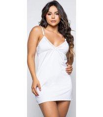 camisola decotada rb moda linha noite lingerie - branco - feminino - poliã©ster - dafiti