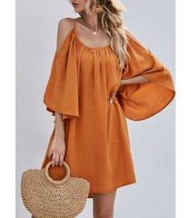 mangas cortas con hombros descubiertos naranja vestido