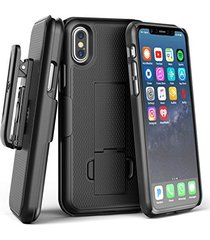 iphone x belt clip case & screen protector, encased [duraclip] slim fit holster