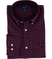 overhemd gant geruit bordeaux regular fit