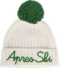white blended cashmere hat apres ski embroidery and green pompon