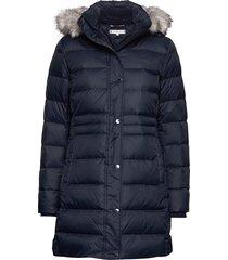 new tyra down coat, gevoerde lange jas blauw tommy hilfiger