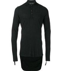 cedric jacquemyn drop hem polo shirt - black