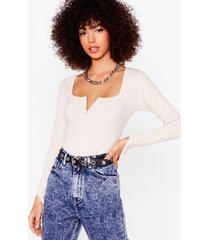 womens notch on our watch ribbed crop top - oatmeal