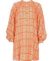 jurk met grafische print sofia  oranje