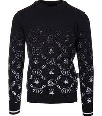 philipp plein man black wool round-neck pullover with degrade monogram