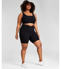 nina parker trendy plus size ribbed knit bralette, created for macy's