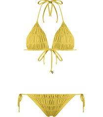 fisico ruched triangle bikini - yellow