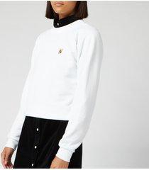 maison kitsuné women's fox had patch sweatshirt - white - l