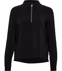 travel crepe ls zip detail top blouse lange mouwen zwart calvin klein
