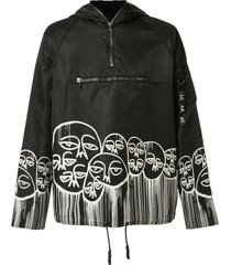 haculla graphic print pull-over hoodie - black