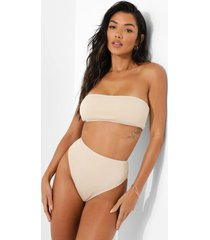 geribbeld hoog uitgesneden bikini broekje, sand