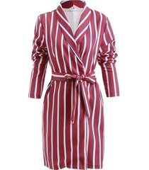 longline striped print blazer with belt
