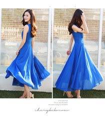 pf079 elegant long chiffon swing dress, high waist,size s-2xl,blue