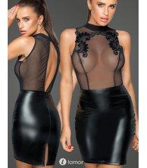 * noir handmade wetlook mini jurk met borduursel en tulle delen