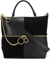 see by chloé patchwork tote bag - black