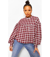 geruite gesmokte blouse, berry