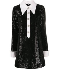giuseppe di morabito sequin-embellished shirt dress - black