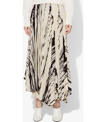 proenza schouler brush stroke print pleated wrap skirt ecru/black drape/neutrals 2