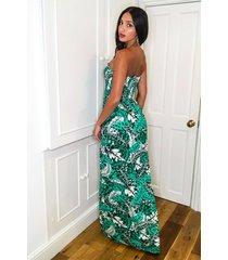 tall tropical shirred bandeau maxi dress, green