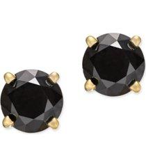 14k white gold earrings, black diamond stud earrings (1 ct. t.w.)