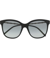 gucci eyewear bamboo-effect soft-square sunglasses - black