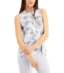 alfani printed pleat-back sleeveless top, created for macy's