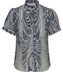 zarani blouse aop 12888 blouses short-sleeved blauw samsøe samsøe