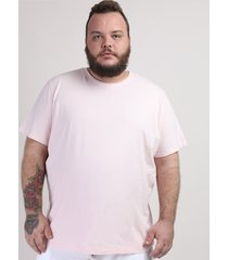 camiseta masculina plus size manga curta gola careca rosa claro
