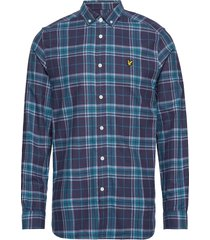check flannel shirt overhemd casual blauw lyle & scott
