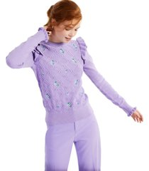 charter club petite ruffled floral sweater, created for macy's