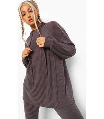 tall geribbelde lounge hoodie, charcoal