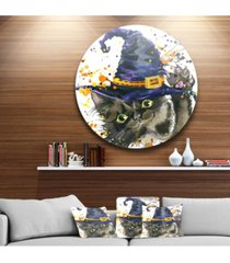"""designart 'halloween cat and witch hat' disc contemporary animal metal circle wall decor - 23"""" x 23"""""""