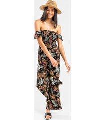 shaun floral off the shoulder jumpsuit - black