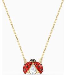collana swarovski sparkling dance ladybug, rosso, placcato color oro