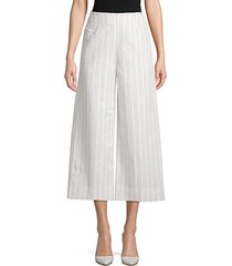 striped cotton & linen-blend cropped pants