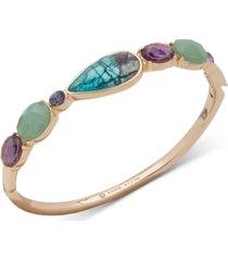 anne klein gold-tone crystal & stone bangle bracelet